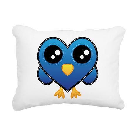 Heart Blue Bird Rectangular Canvas Pillow