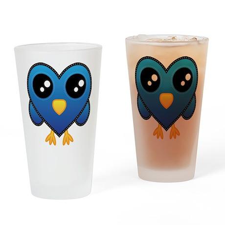 Heart Blue Bird Drinking Glass