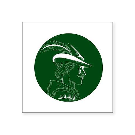 Robin Hood Side Profile Circle Woodcut Sticker
