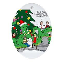 Santa Squid Ornament (Oval)