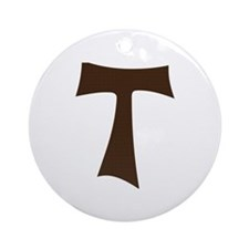 Tau Cross or Crux Commissa Ornament (Round)