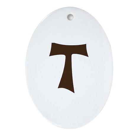Tau Cross or Crux Commissa Ornament (Oval)