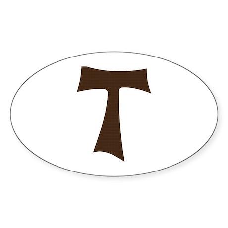 Tau Cross or Crux Commissa Sticker (Oval)