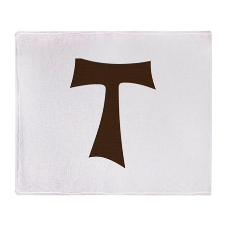 Tau Cross or Crux Commissa Throw Blanket