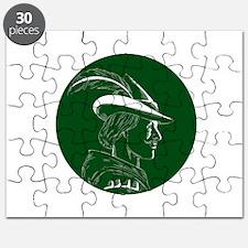 Robin Hood Side Profile Circle Woodcut Puzzle