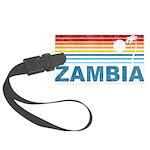 Retro Palm Tree Zambia Large Luggage Tag