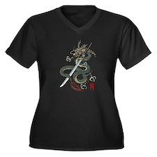 Dragon katana Women's Plus Size V-Neck Dark T-Shir