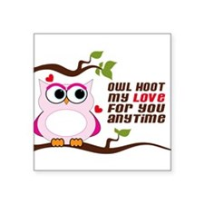 "Owl Hoot Square Sticker 3"" x 3"""
