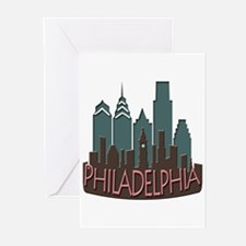 Philly Skyline Newwave Chocolate Greeting Cards (P