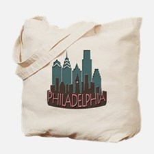 Philly Skyline Newwave Chocolate Tote Bag