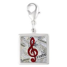 Red Treble Clef Silver Square Charm