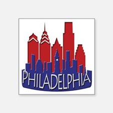 "Philly Skyline Newwave Patriot Square Sticker 3"" x"
