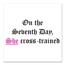 "She Cross-Trained Square Car Magnet 3"" x 3"""