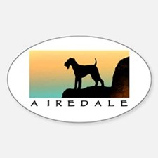 airedale terrier sunset cliff Oval Decal