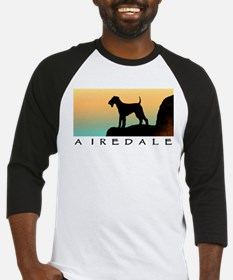 airedale terrier sunset cliff Baseball Jersey
