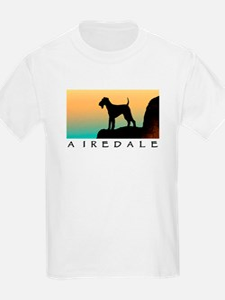 airedale terrier sunset cliff Kids T-Shirt