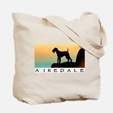 airedale terrier sunset cliff Tote Bag