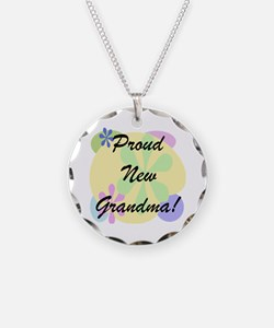 Proud New Grandma Necklace Circle Charm