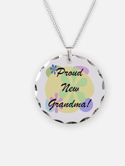 Proud New Grandma Necklace Circle Charm
