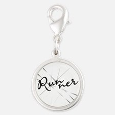 Abstract Runner Silver Round Charm