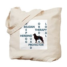 Belgian sheepdog Crossword Tote Bag