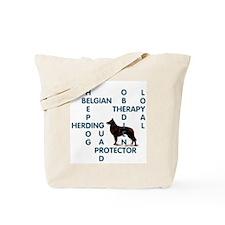 Belgian sheepdog Crossword Tote Bag