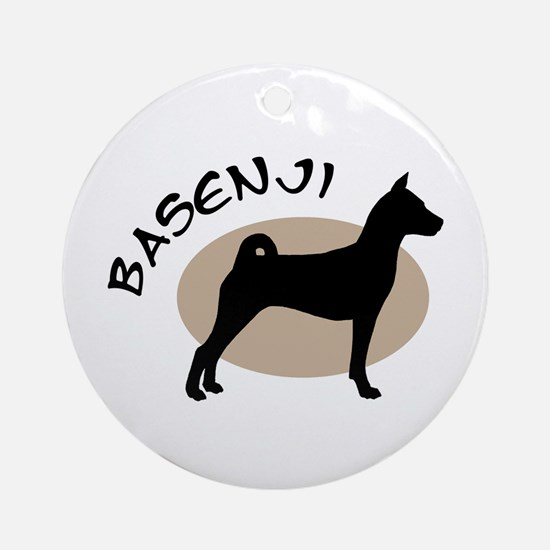 basenji dog black & tan Ornament (Round)