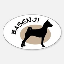 basenji dog black & tan Oval Decal