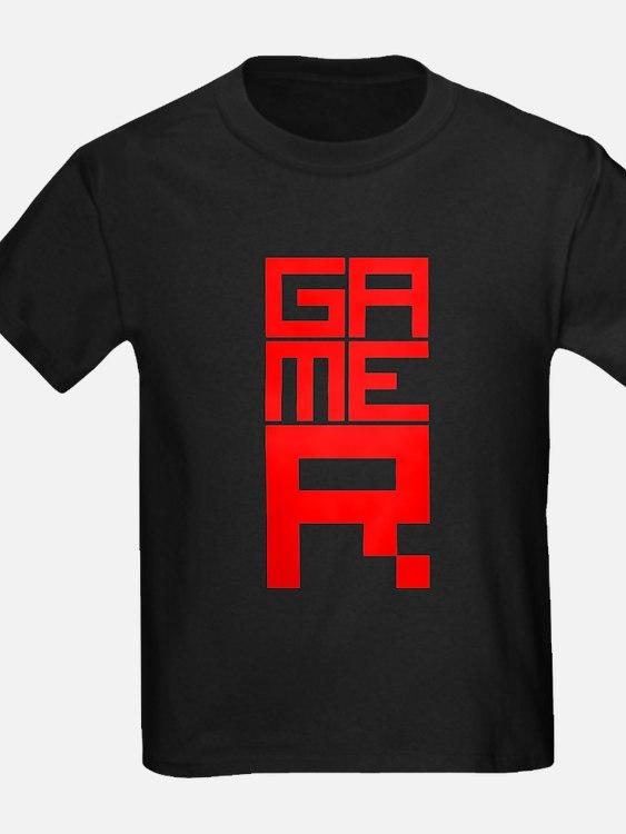 Retro Pixelated Gamer Geek Design in Red T
