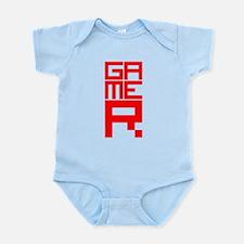 Retro Pixelated Gamer Geek Design in Red Infant Bo