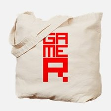 Retro Pixelated Gamer Geek Design in Red Tote Bag