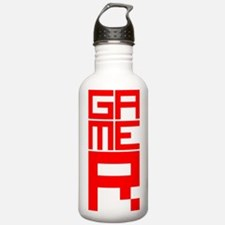 Retro Pixelated Gamer Geek Design in Red Water Bottle
