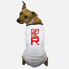 Retro Pixelated Gamer Geek Design in Red Dog T-Shi