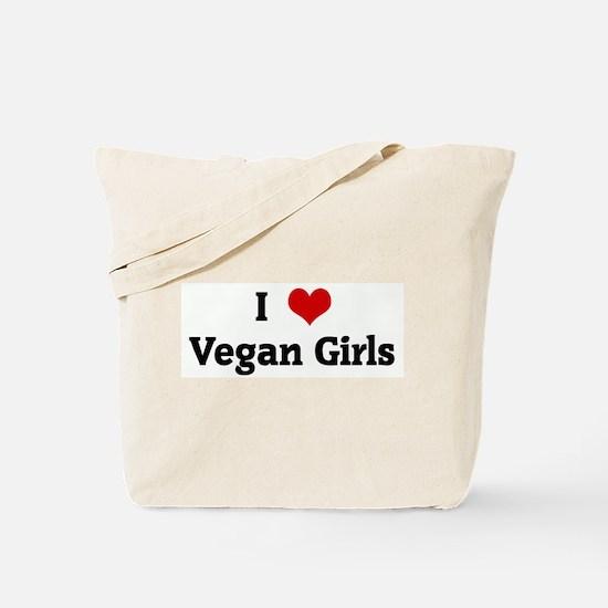 I Love Vegan Girls Tote Bag