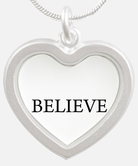 BELIEVE.png Silver Heart Necklace