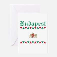Flag Of Budapest Design Greeting Card