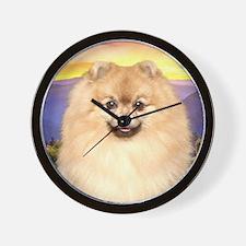 Pomeranian Meadow Wall Clock