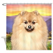 Pomeranian Meadow Shower Curtain
