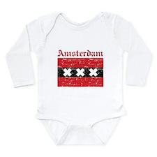 Flag Of Amsterdam Design Long Sleeve Infant Bodysu