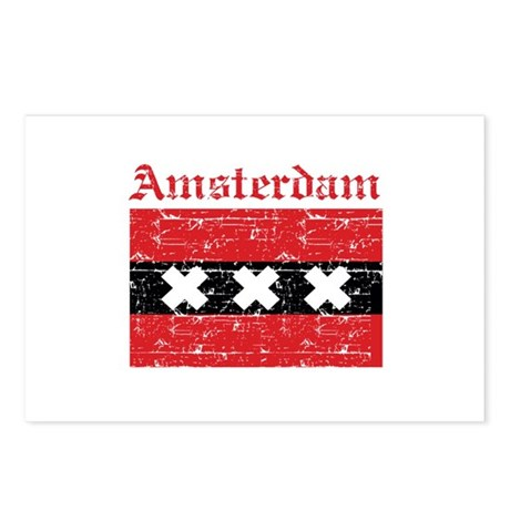 Flag Of Amsterdam Design Postcards (Package of 8)