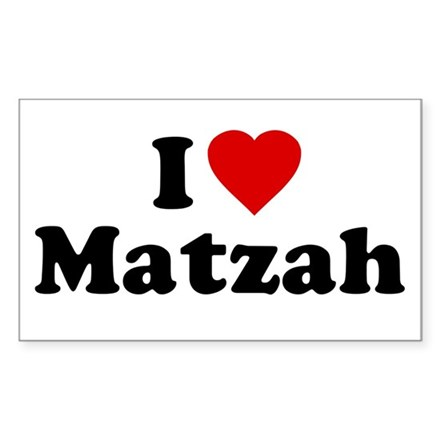I Love [Heart] Matzah Rectangle Decal