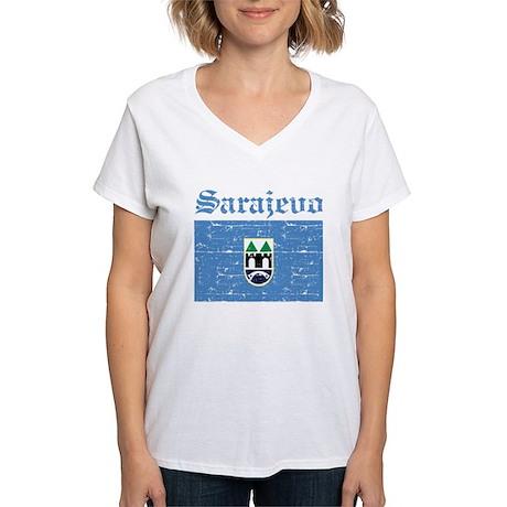 Flag Of Sarajevo Design Women's V-Neck T-Shirt