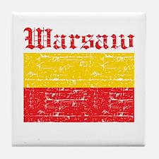 Flag Of Warsaw Design Tile Coaster