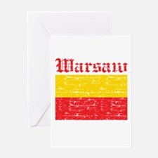 Flag Of Warsaw Design Greeting Card