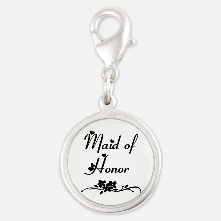 Classic Maid of Honor Silver Round Charm