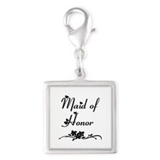 Classic Maid of Honor Silver Square Charm