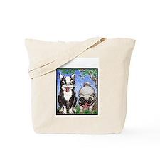 boston terrier, pug eco-friendlyshopping tote bag