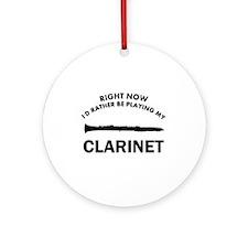 Clarinet silhouette designs Ornament (Round)