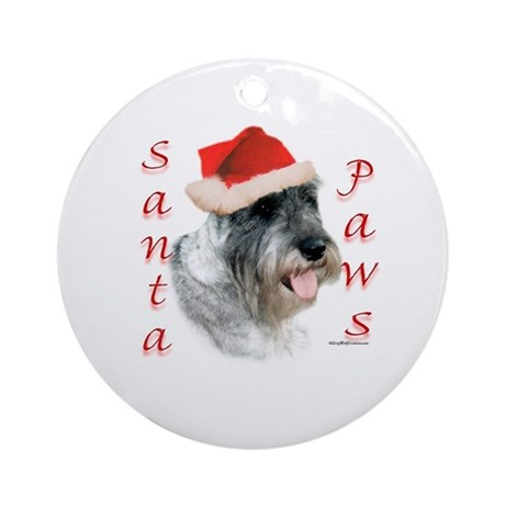 Santa Paws Schnauzer Ornament (Round)