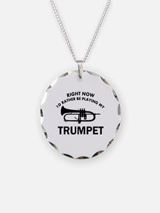 Trumpet silhouette designs Necklace Circle Charm